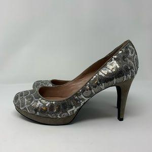 Vince Camuto silver sequin & tan suede Zella pump